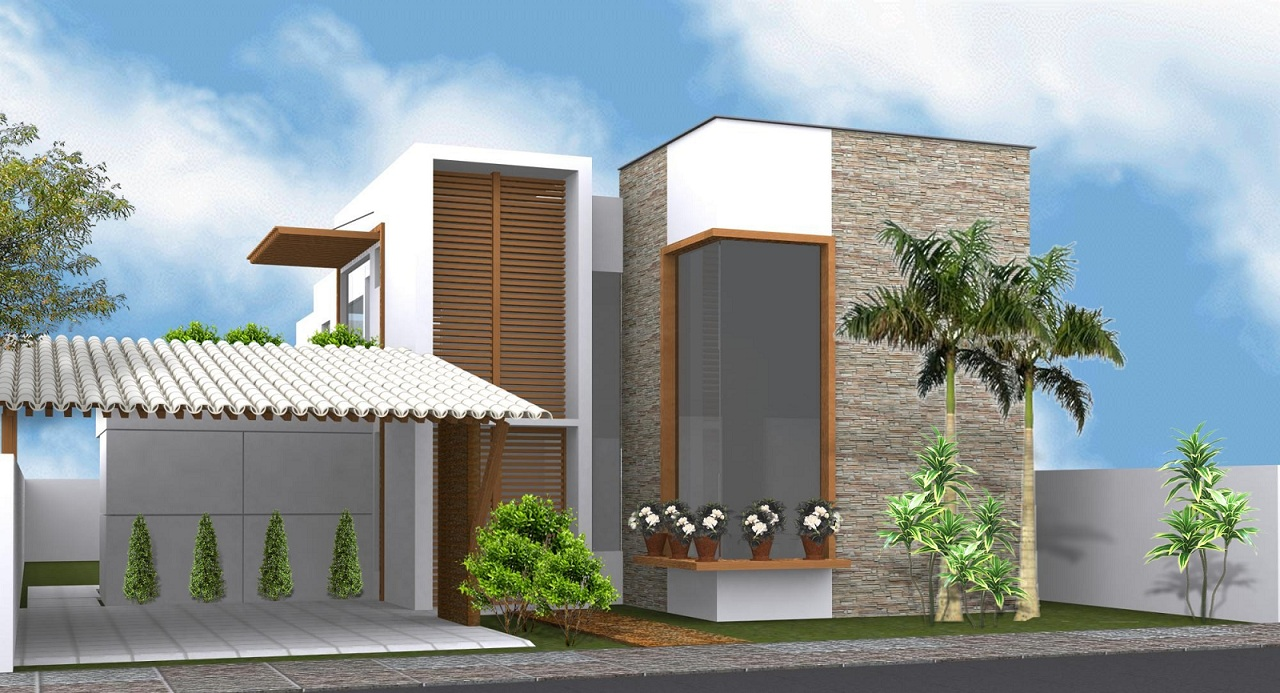 Revestimentos externos fachadas casas decorando casas for Fachadas para residencias