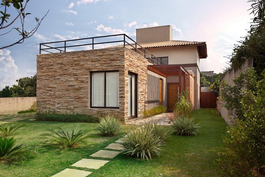 Revestimentos externos fachadas casas decorando casas - Fotos de fachadas rusticas ...