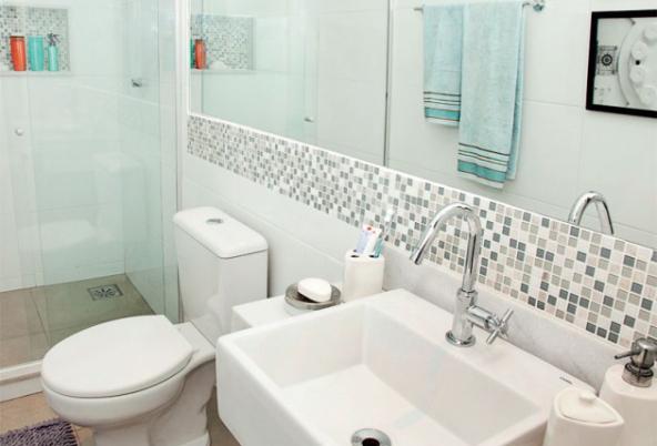 Azulejos para banheiros pequenos e modernos  Decorando Casas -> Banheiros Com Pastilhas E Azulejos