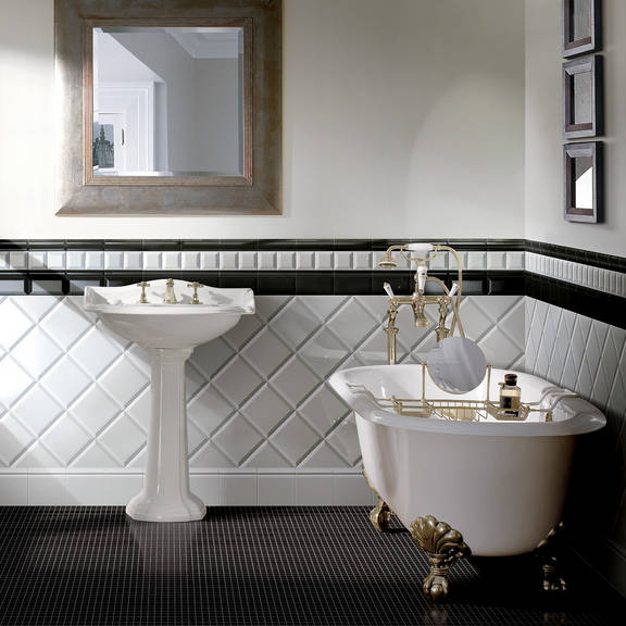 Azulejos para banheiros pequenos e modernos  Decorando Casas -> Decoracao Azuleijo Banheiro