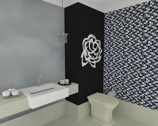 Banheiros com pastilhas pretas e brancas  Decorando Casas -> Banheiro Branco Com Pastilhas Vermelhas