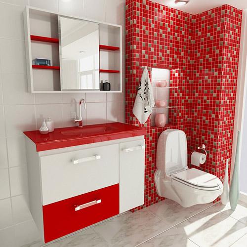 Banheiros com pastilhas vermelhas  Decorando Casas -> Banheiro Branco Com Pastilhas Vermelhas