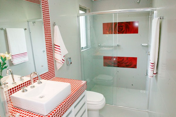 Banheiros com pastilhas vermelhas  Decorando Casas -> Bancada De Banheiro Com Pastilha De Vidro