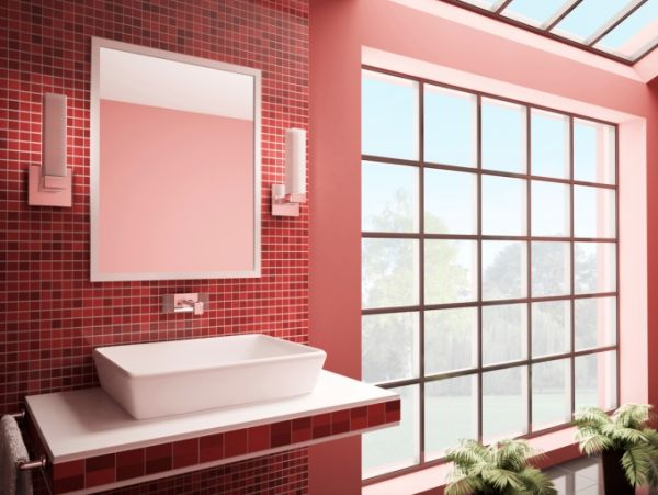 Banheiros com pastilhas vermelhas  Decorando Casas -> Banheiro Com Pastilha Vermelha E Branca