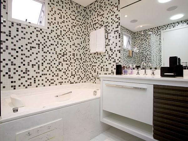 Banheiros com pastilhas pretas e brancas  Decorando Casas -> Banheiro Branco Com Pastilhas Pretas