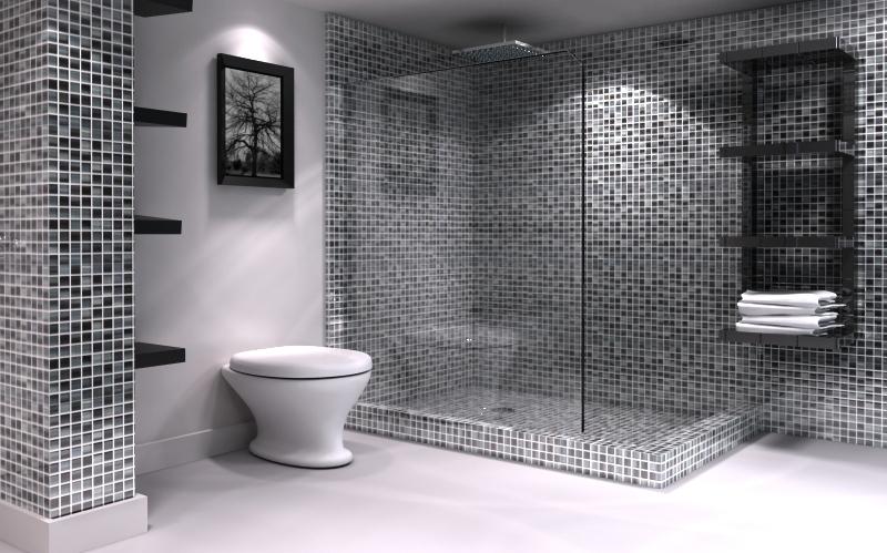 Banheiros com pastilhas pretas e brancas  Decorando Casas -> Banheiro Pequeno Decorado Com Adesivo