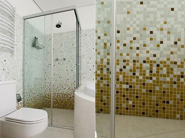 Decoração para banheiros pequenos com pastilhas  Decorando Casas -> Banheiro Pequeno Com Pastilhas Claras