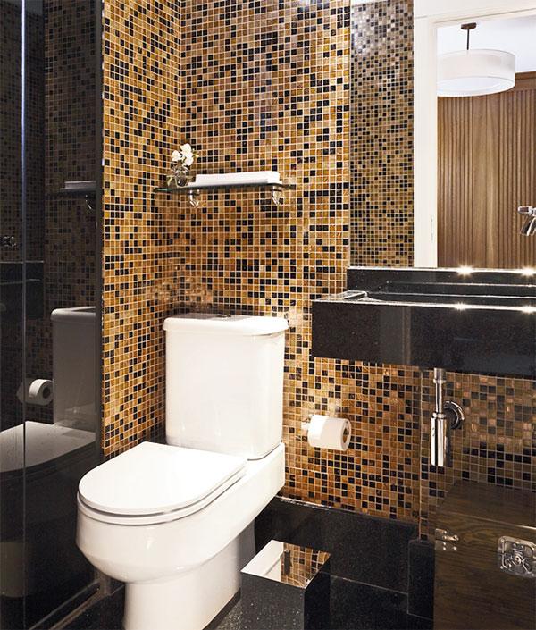 Decoração para banheiros pequenos com pastilhas  Decorando Casas -> Banheiros Pequenos Com Pastilhas Marrons