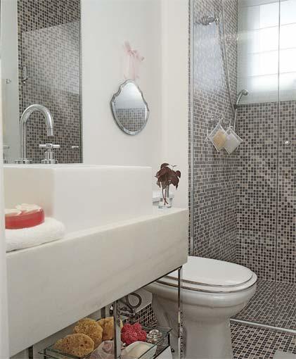 Decoração para banheiros pequenos com pastilhas  Decorando Casas -> Banheiro Com Pastilha Azul Escuro
