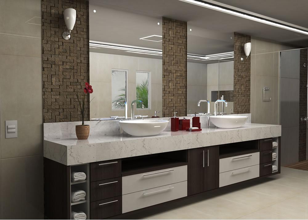 Modelos de pias para banheiro com armário  Decorando Casas -> Banheiro Planejado Pia