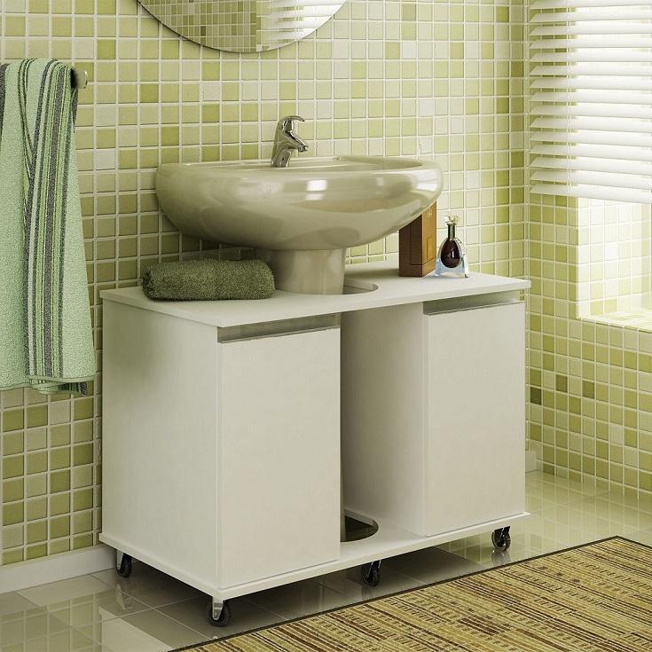 Modelos de pias para banheiro com armário  Decorando Casas -> Armario Banheiro Verde