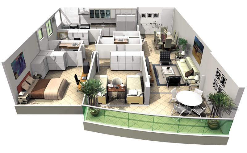 Plantas de apartamentos com 3 quartos decorando casas for Plantas de casas tipo 3 modernas