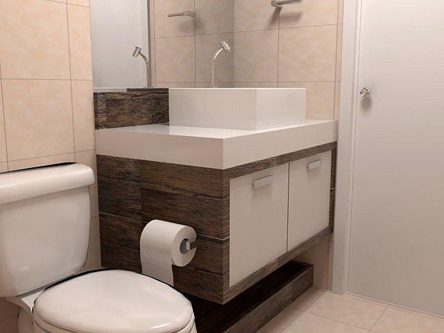 Banheiro pequeno pede um projeto de móveis planejados  Decorando Casas -> Banheiro Planejado Pia