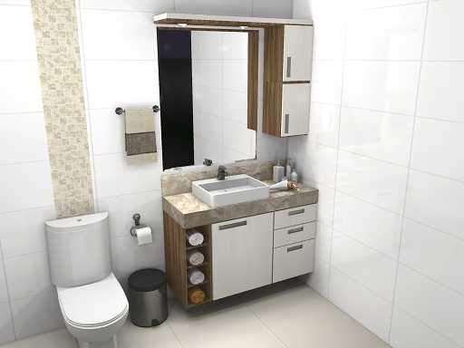 Banheiro pequeno pede um projeto de móveis planejados  Decorando Casas -> Pia Para Banheiro Amarela