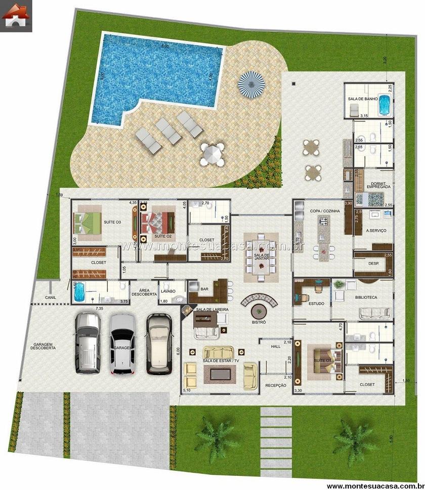 Projetos de casas com 4 quartos decorando casas for Casa planta ramallosa