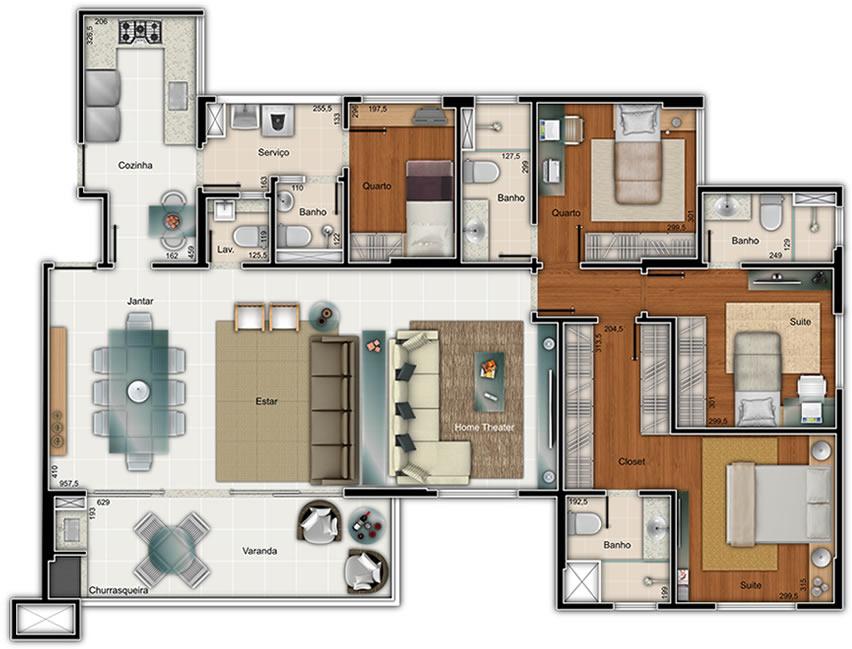 Projetos de casas com 4 quartos decorando casas - Plantas aromaticas en casa ...