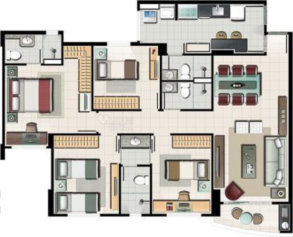 Projetos de casas com 4 quartos decorando casas for Casa moderna 2 andares 3 quartos