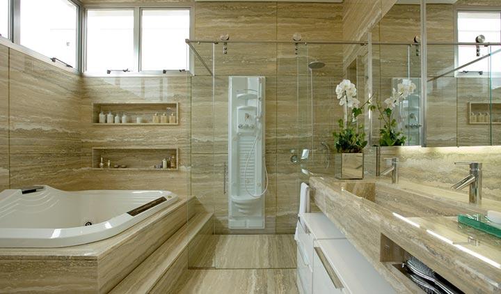 Decoração banheiros modernos com banheiras  Decorando Casas # Planta De Banheiro Com Banheira Dupla