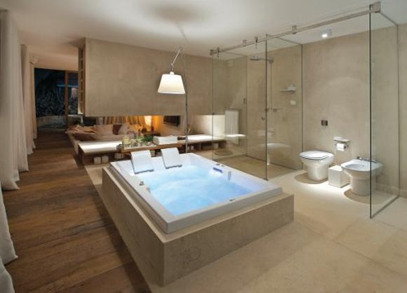 Decoração banheiros modernos com banheiras  Decorando Casas -> Banheiros Com Banheiras Redondas