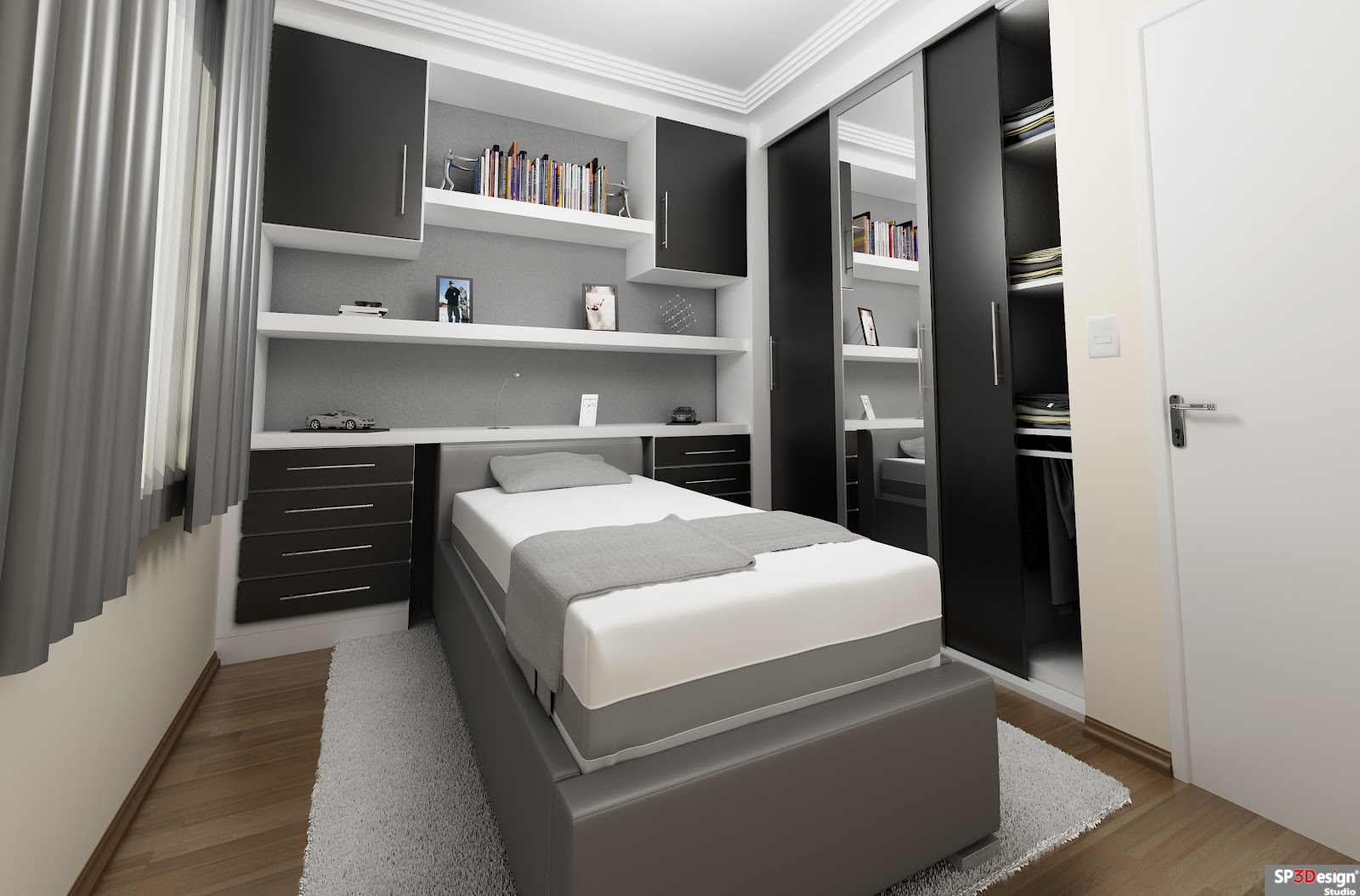 Closets Modernos E Planejados Para Quarto Decorando Casas ~ Quarto De Solteiro Planejado Para Apartamento Pequeno