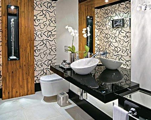 Papel de parede para banheiros  Decorando Casas -> Banheiro Pequeno Decorado Com Papel De Parede