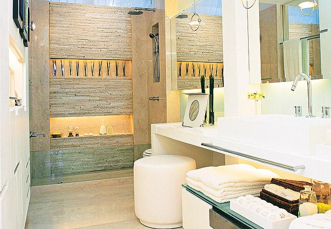 Revestimentos para banheiros rústicos  Decorando Casas -> Banheiros Decorados Atuais