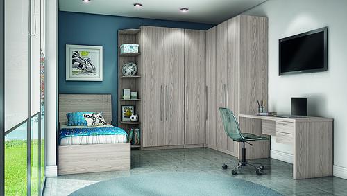 Modelos de guarda roupas para quarto pequeno de solteiro  ~ Quarto Solteiro Masculino Modulado
