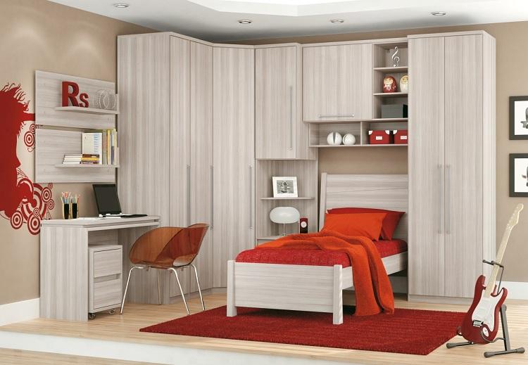 Modelos de guarda roupas para quarto pequeno de solteiro  ~ Quarto Solteiro Pequeno