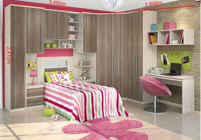 Modelos de guarda roupas para quarto pequeno de solteiro  ~ Valor Quarto Planejado Infantil