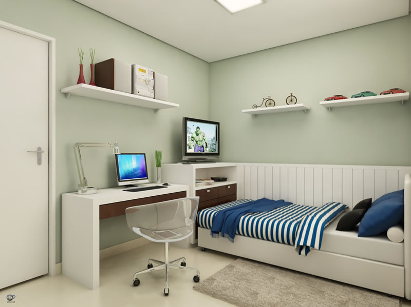 Iluminação para quarto de solteiro Decorando Casas ~ Quarto Solteiro Lebes
