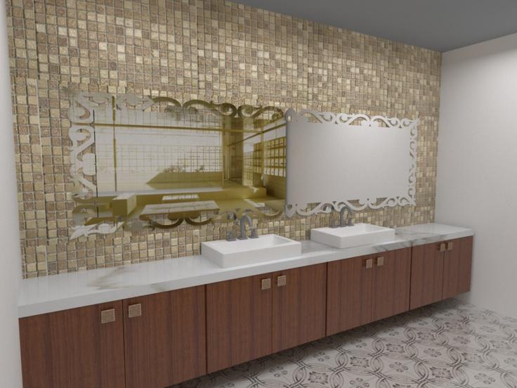 Banheiros decorados com pastilhas bege  Decorando Casas -> Banheiros Bege Decorados Com Pastilhas