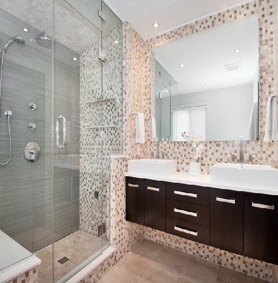 Banheiros decorados com pastilhas bege  Decorando Casas -> Banheiros Modernos Decorados Com Pastilhas De Vidro