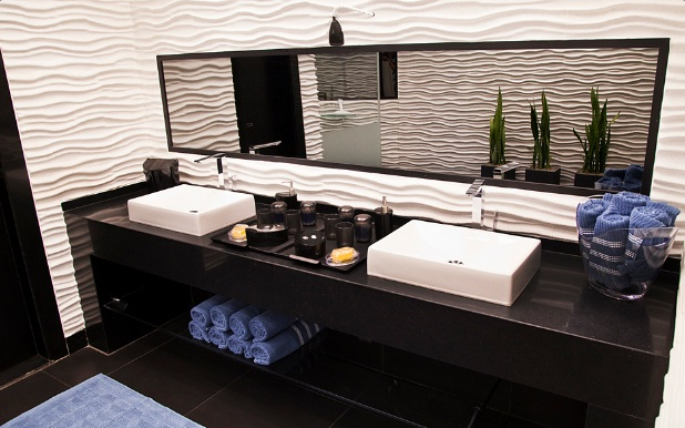Banheiros modernos preto e branco  Decorando Casas -> Banheiro Com Banheira Preta