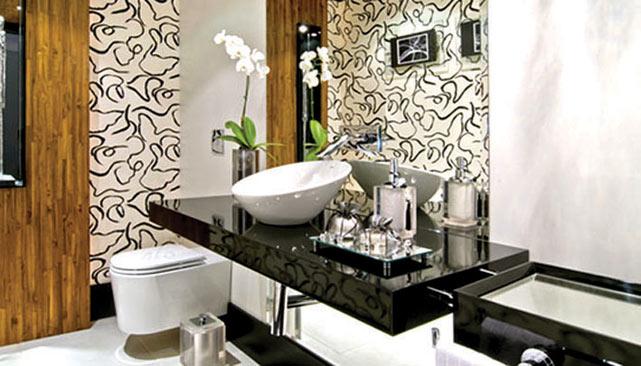 decoracao banheiro pequeno preto e branco : decoracao banheiro pequeno preto e branco:Banheiros modernos preto e branco