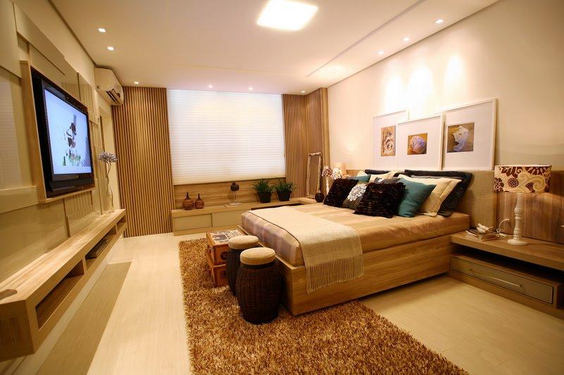 Móveis planejados quarto de casal Decorando Casas ~ Quarto Casal Moderno Com Tv