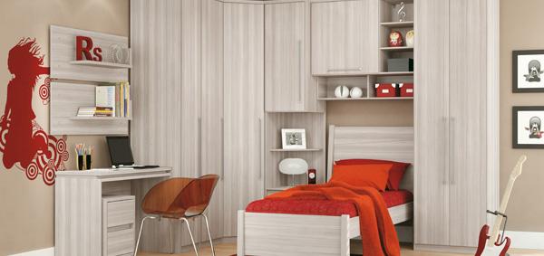 Móveis planejados quarto de solteiro Decorando Casas ~ Quarto Solteiro Modulado Pequeno