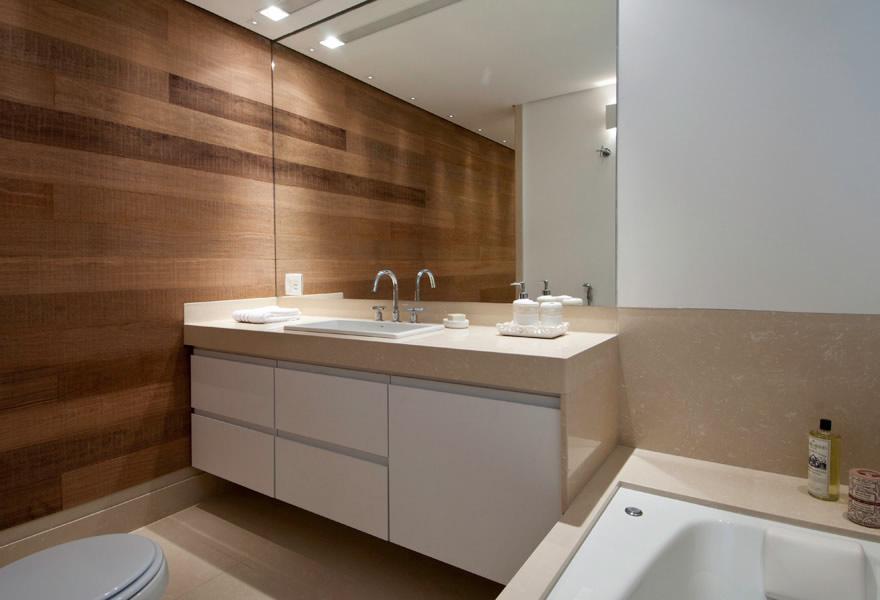 Revestimento de madeira para banheiro  Decorando Casas -> Banheiro Planejado Mdf
