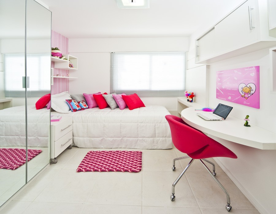 decoracao moveis branco:Decoração para quarto pequeno de jovens meninas