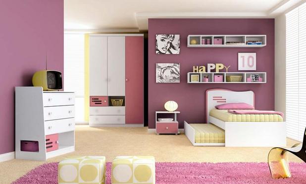 Decoração para quarto pequeno de jovens meninas  ~ Tapete Quarto Infantil Feminino