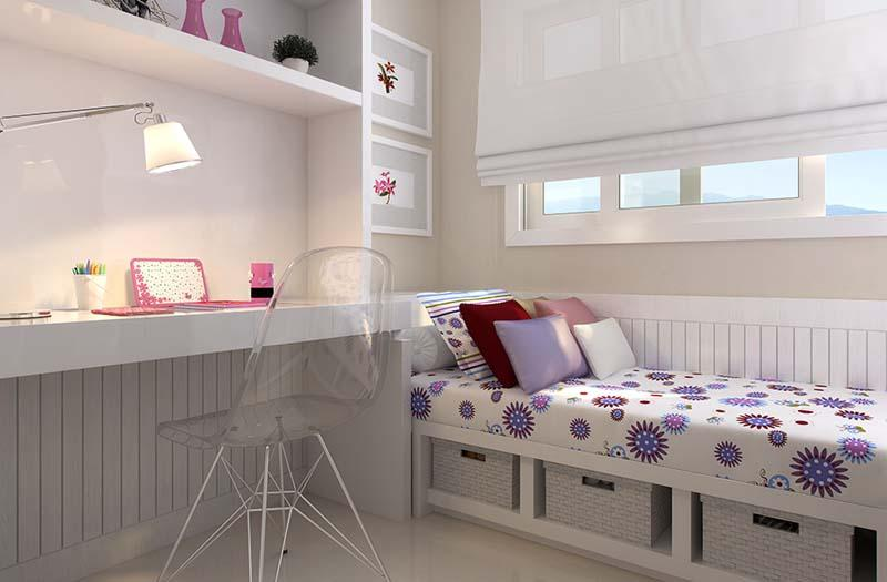 Decoração para quarto pequeno de jovens meninas  ~ Quarto Solteiro Clean