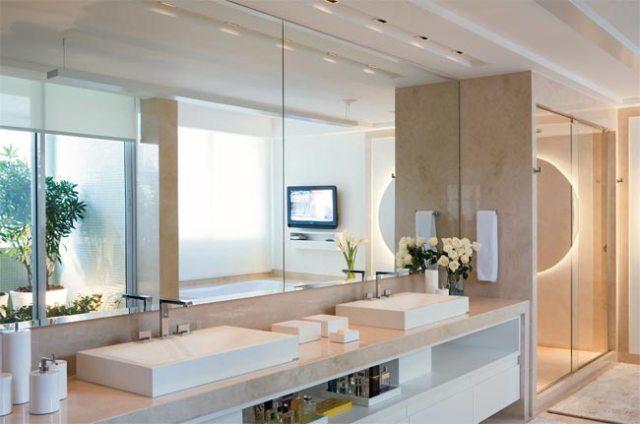 Espelhos e o seu banheiro decorado  Decorando Casas -> Armario De Banheiro Com Espelho Inox
