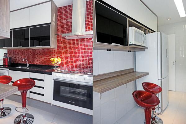 Cozinhas planejadas pequenas com pastilhas  Decorando Casas # Cozinha Planejada Pequena Com Vermelho