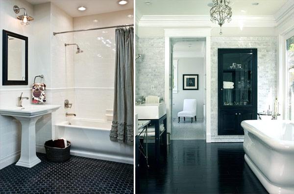decoracao piso branco:Dicas de pisos para banheiro preto