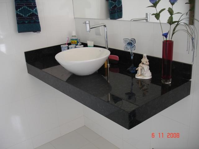 Modelos de pias em granito para banheiro  Decorando Casas -> Pia Banheiro Granito Preto