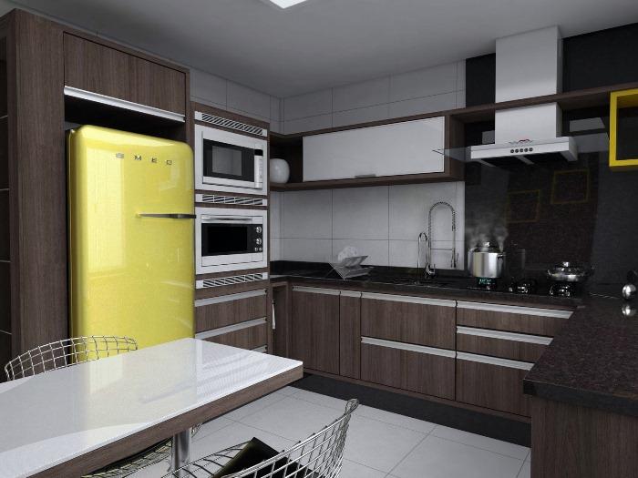 Armário de cozinha planejado com balcão  Decorando Casas # Armario De Cozinha Semi Planejado