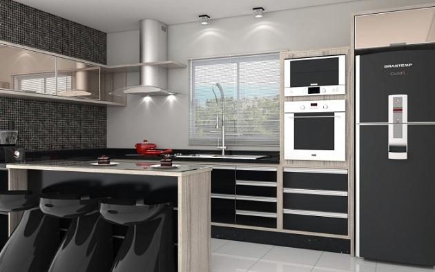 Armário de cozinha planejado com balcão  Decorando Casas # Armario De Cozinha Planejado Em U