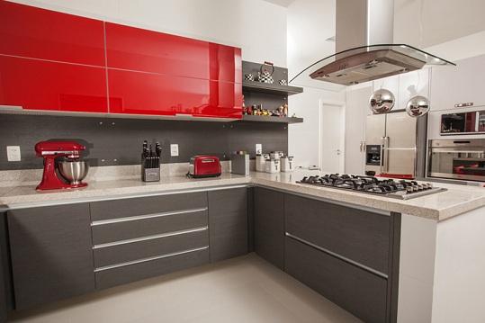 Armários de cozinha planejados coloridos  Decorando Casas # Cozinha Planejada Pequena Com Vermelho