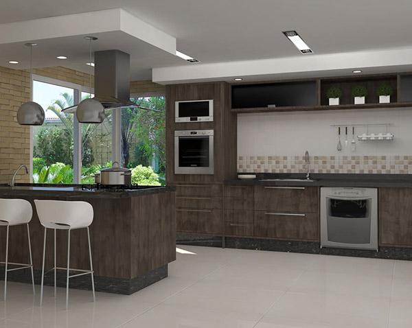 Arm rio de cozinha planejado com balc o decorando casas for Armarios italianos