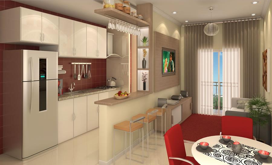 Cozinha americana pequena com sala de jantar  Decorando Casas
