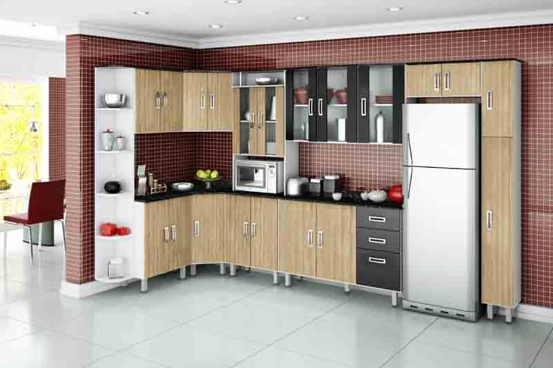 Aparador Com Gavetas Espelhado ~ Modelos de armários de canto para cozinha Decorando Casas